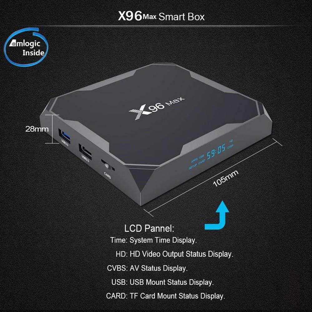 X96 MAX Android 8.1 TV Box 4G 32G con Amlogic S905X2 Quad Core Arm Cortex A53 Soporte Bluetooth 4.1 4K Full HD 3D H.265 2.4G & 5.8G WiFi Smart TV Box: Amazon.es: