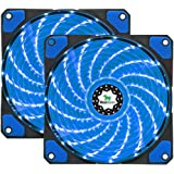 Asiahorse FIREWORK Reinforced Hydraulic Bearing 120mm DC 15 Leds Cooling Case Fan for PC Computer,Quiet Edition CPU Cooler Twin pack(Blue)