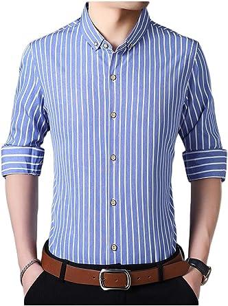 Casual Camisa De Manga Larga Ajustada con Botones A Rayas para Hombre: Amazon.es: Ropa y accesorios