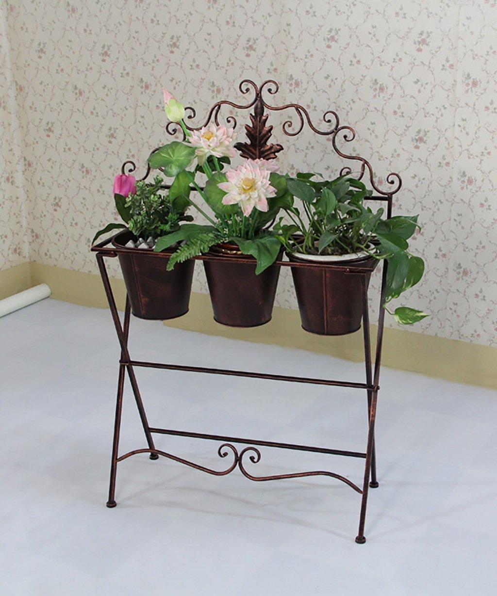 LB huajia ZHANWEI Eisen Blumen Racks Europäische Stil Retro Pastoral Balkon Hof Blumen Topf Rack mit Fässern Bronze