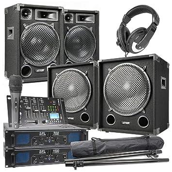 MAX-1215 - Juego Completo de 2200 W 2.2 DJ con Mesa de Mezclar ...