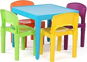 Tot Tutors TC657 Kids Plastic Table and 4 Chairs Set, Blue Vibrant