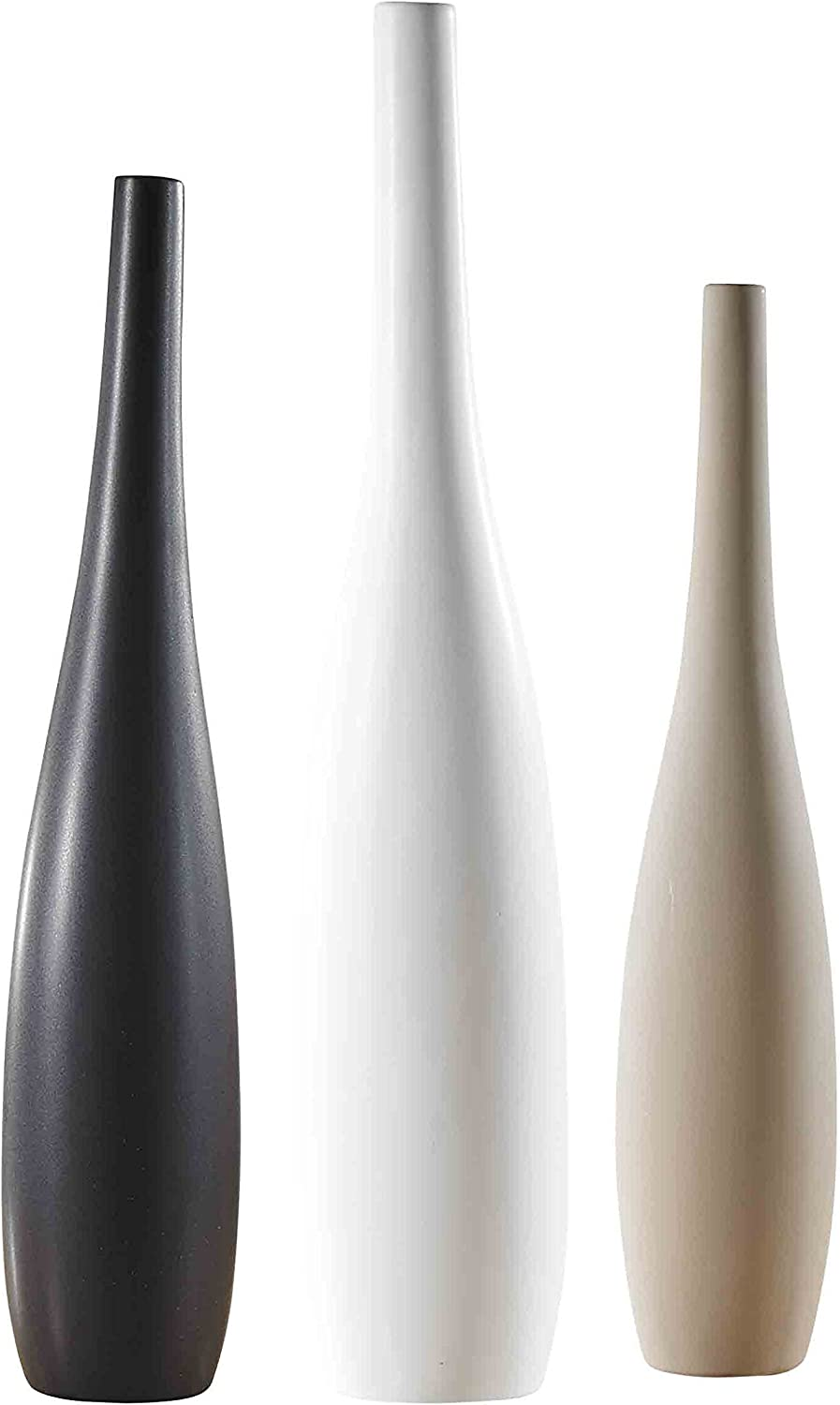 Pure Lifestyle 22 19 17 Slim Neck Tall Vases Set Of 3 Three Colors Ceramic Decoration Flower Vase Porcelain Crafts Wedding Gifts Welcome Home Warming Christmas Gift Birthday Presents Amazon Co Uk Kitchen Home