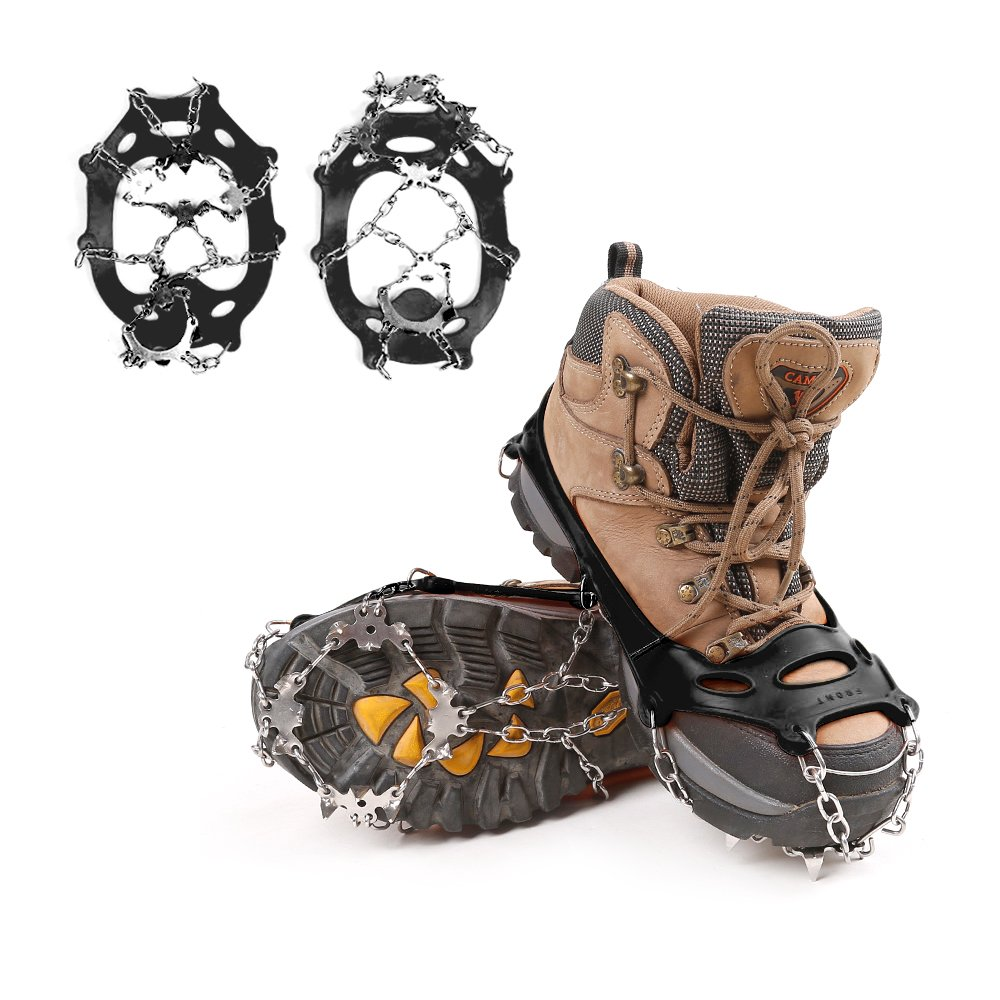 Geekper Traction Cleats Ice Grippers - New Design Lightweight 18 Teeth Stainless Steel Spikes Crampons Anti-slip Safe for Walk on Ice and Snow Coming [ Medium(5-8.5) ]