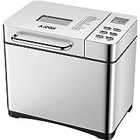 Aicok Machine à Pain 19 programmes, Machine a Pain Automatique avec Distributeur, Départ différé Jusqu'à 15H, Maintien au chaud 1H, 3 Tailles de pain et 3 degrés de bronzage, Argent