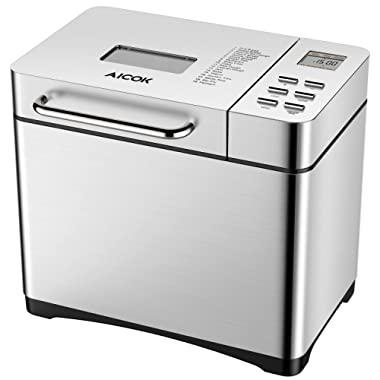 Automatic Bread Maker, Aicok 2 Pound Stainless Steel Breadmaker Machine with 19 Programs Cycles, Fruit Nut Dispenser, 3 Loaf Sizes, 3 Crust Colors, 15 Hours Delay, FDA Certified, Brushed Chrome