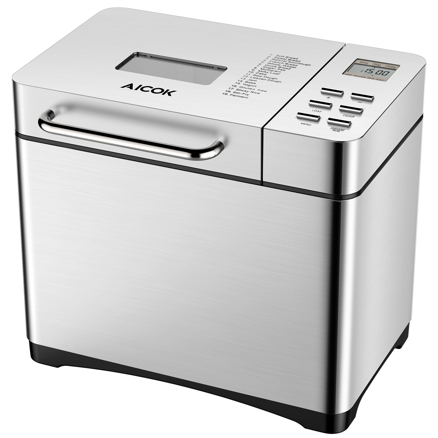 Bread Machine Aicok, Stainless Steel Bread Maker 19 Programs With 15 Hours Delay, 3 Loaf Sizes, 3 Crust Colors, Gluten Free Whole Wheat Breadmaker, Silver