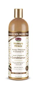 African Pride Moisture Miracle Honey, Chocolate & Coconut Oil Conditioner - Helps Repair & Replenish Moisture to Natural Coils & Curls, Nourishes & Restores, Sulfate Free, Color Safe. 16oz.