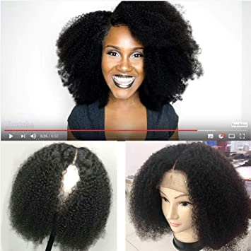 best loved new high quality get online 360 Lace Frontal Afro Kinky Curly Human Hair Wigs-Glueless 130% Density  Mongolian Virgin Remy Wigs...