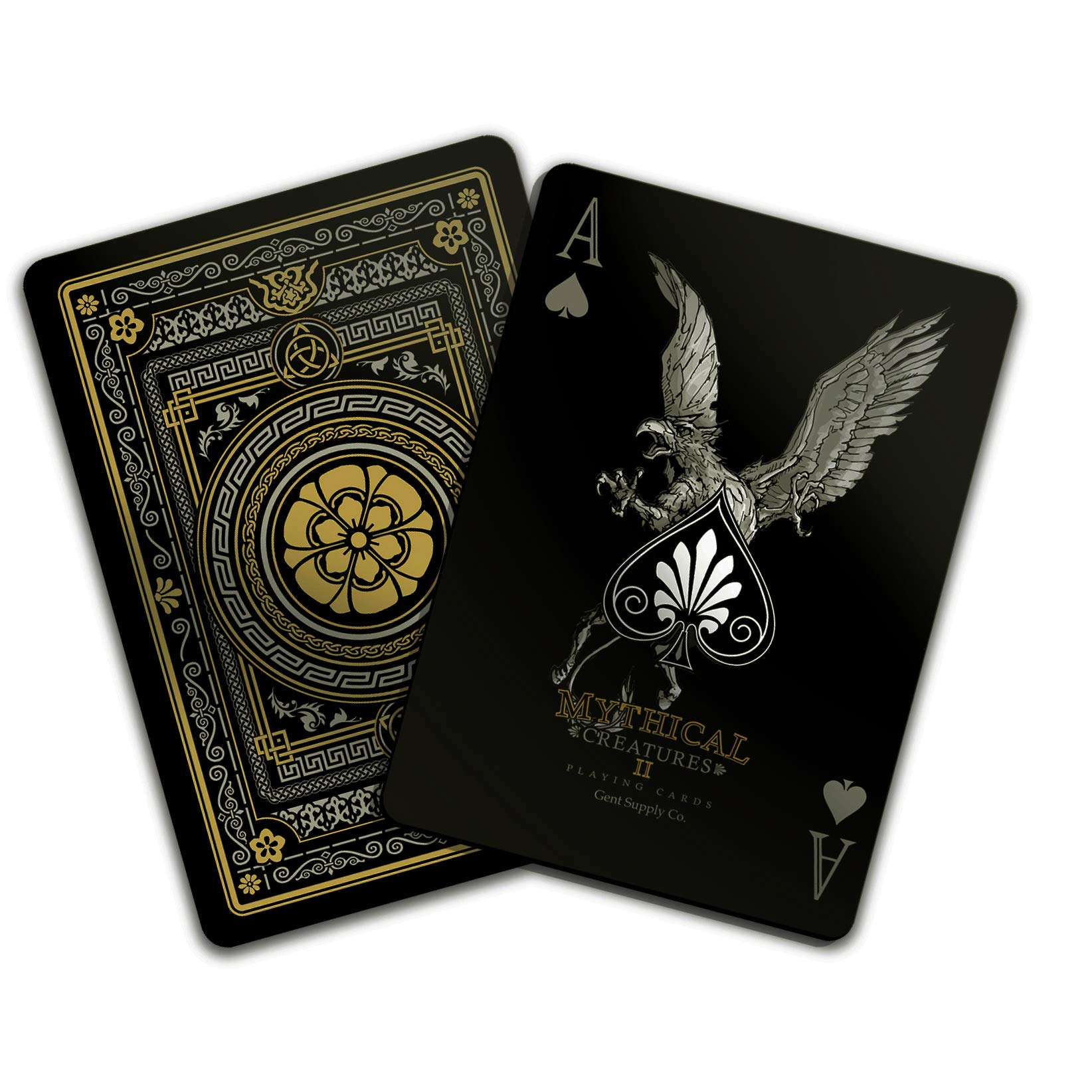 Gent Supply Plastic Waterproof Mythical Creatures II (All New Creatures) - Black Silver & Gold Edition Playing Cards