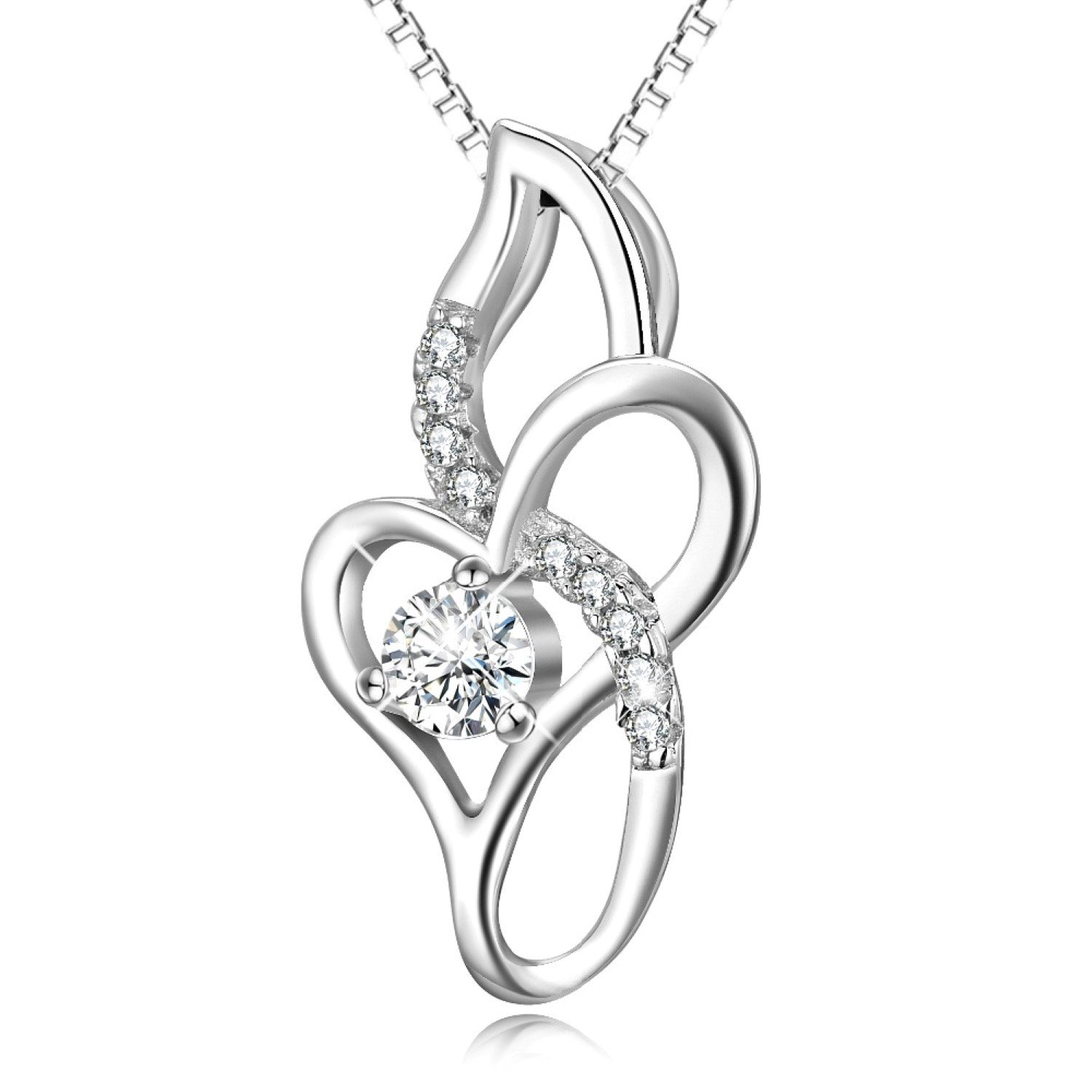 CS-DB Pendants Necklaces Silver Infinity Love Cubic Zirconia Jewelry Girls