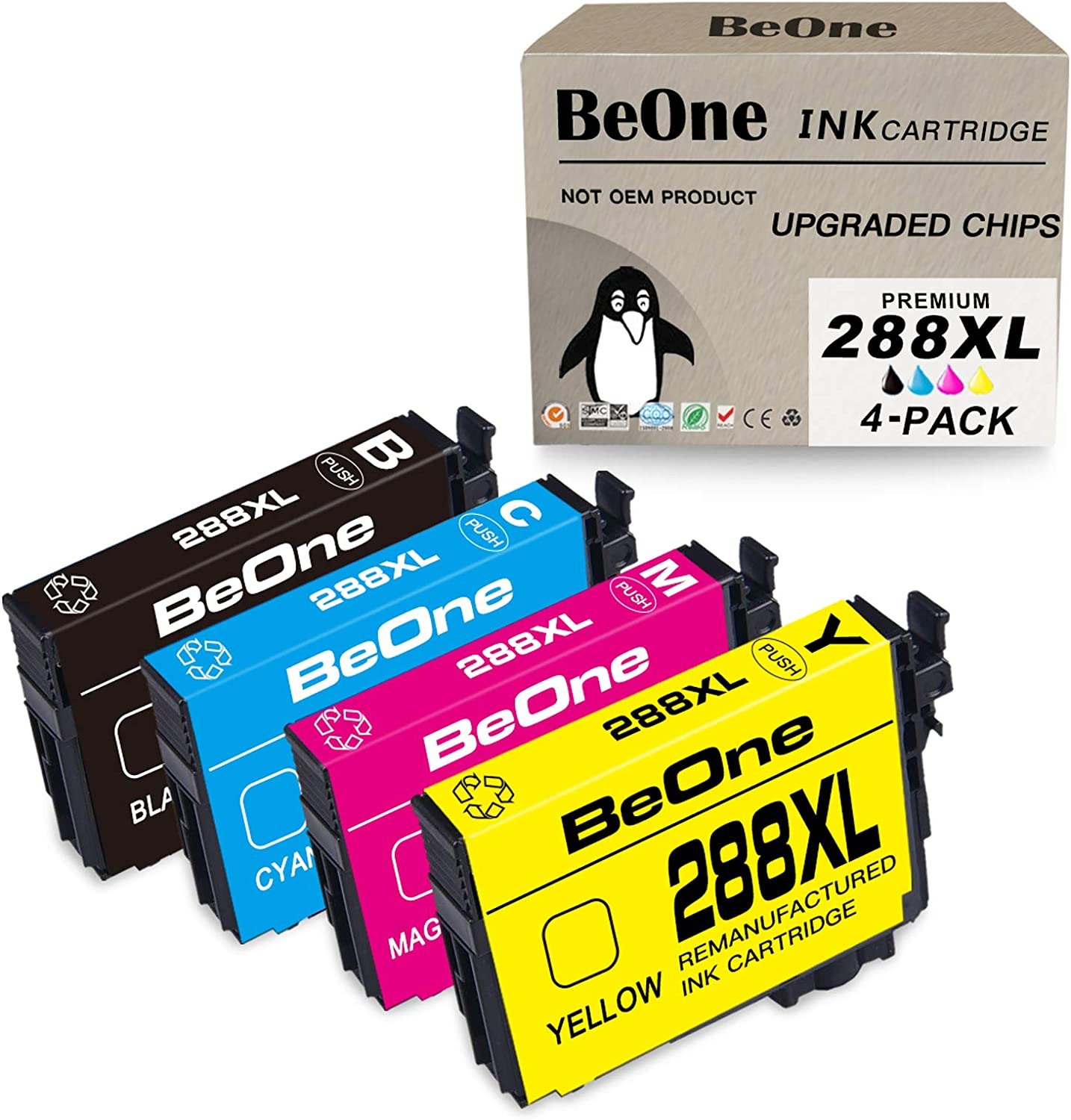 BeOne Remanufactured Ink Cartridge Replacement for Epson 288 XL 288XL T288 T288XL 4-Pack to Use with Expression Home XP-440 XP-340 XP-446 XP-330 XP-430 XP-434 Printer (Black Cyan Magenta Yellow)