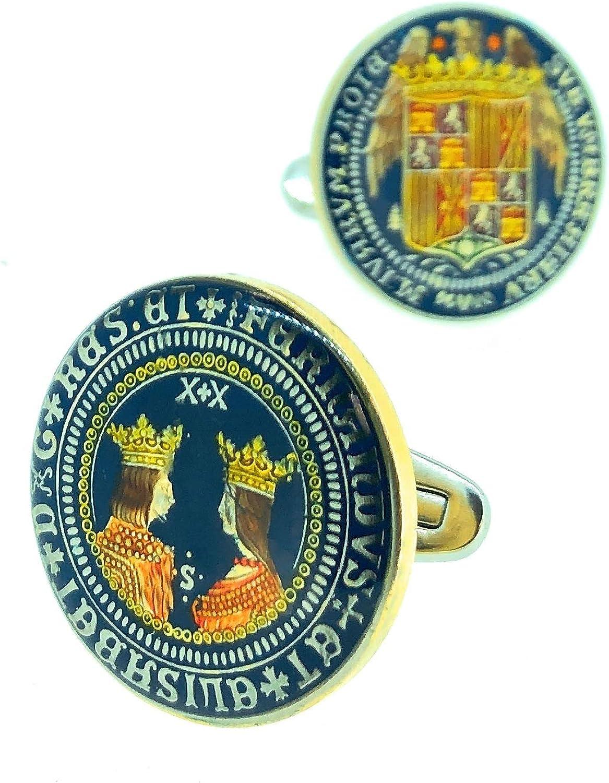 Gemelos para Camisa Plata de Ley 925 Replica Moneda de los Reyes Católicos Aguila de San Juan II Modelo Anverso y Reverso: Amazon.es: Ropa y accesorios