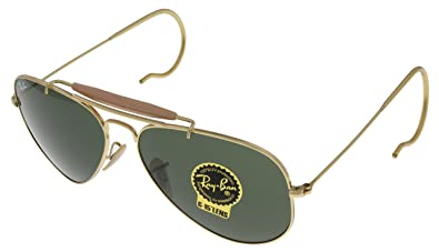 1be9997814 Image Unavailable. Image not available for. Color  Ray Ban Sunglasses  Outdoorsman Aviator Unisex Browbar Enhanced RB3030 L0216