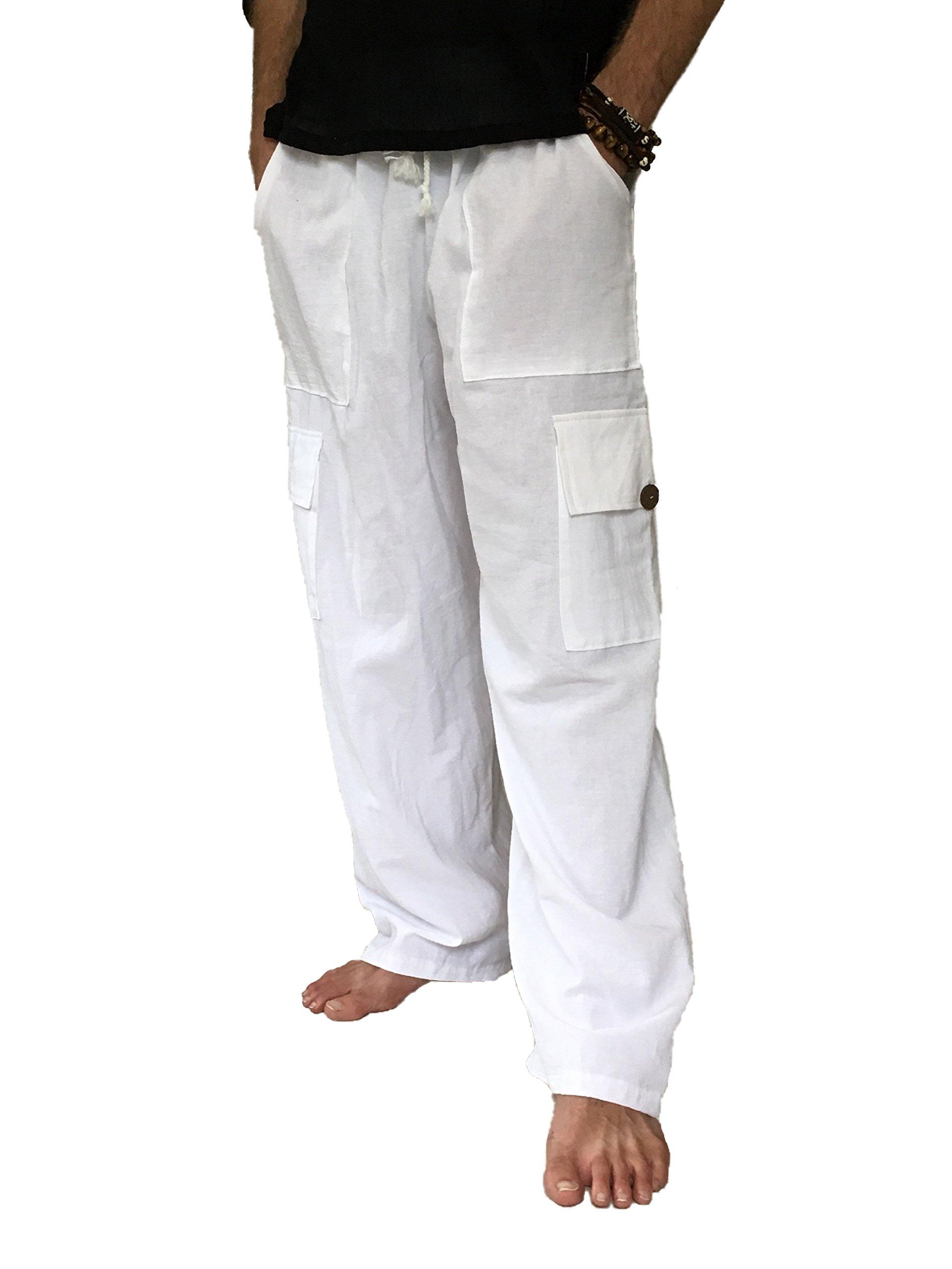 Love Quality Men's 100% Cotton Cargo Pants Plus Size Baggy Pants Drawstring Elastic Waist (White) by Love Quality (Image #1)