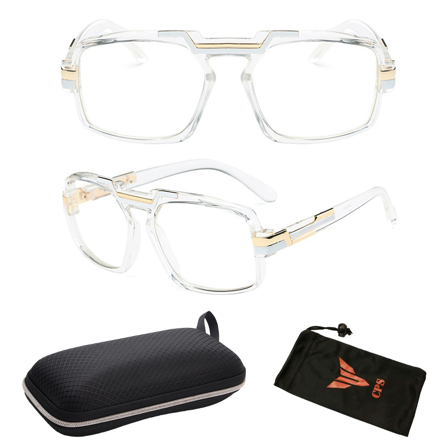 Classic Square Frame Plastic Flat Top Aviator Glasses/w Metal Trimming and Clear Lens