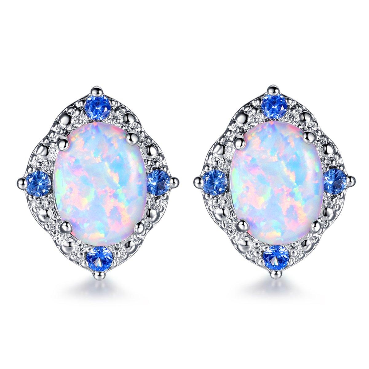 CERSLIMO 18K White Gold Plated Opal Stud Earrings 6mm Oval Cubic Zircon Stud Earrings