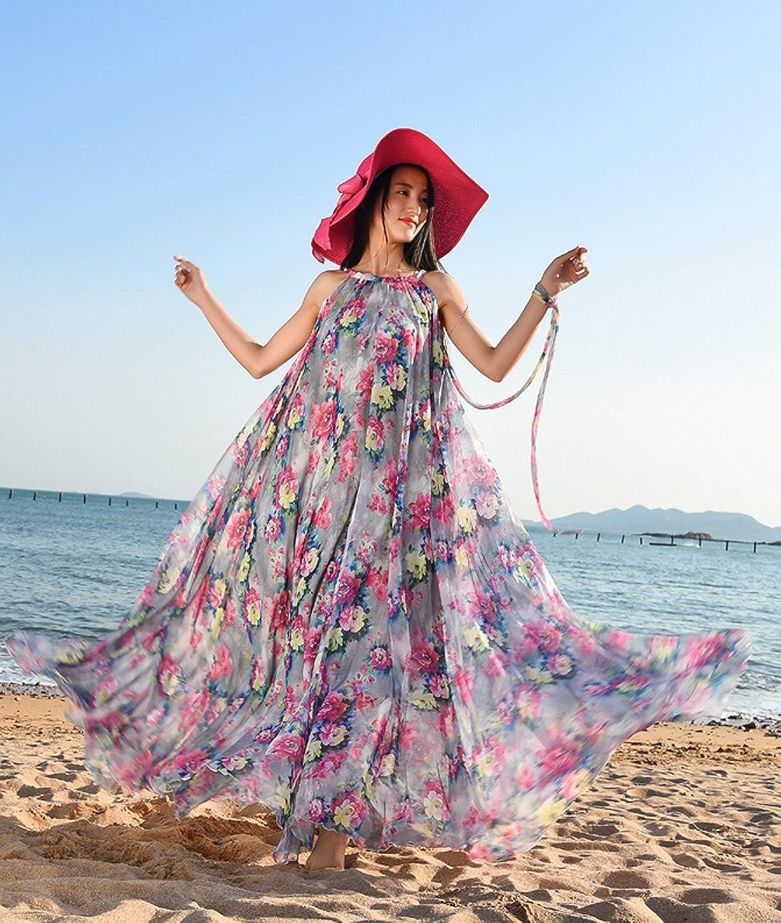 Femirah Womens Purple Floral Long Beach Chiffon Dress Maxi Sundress