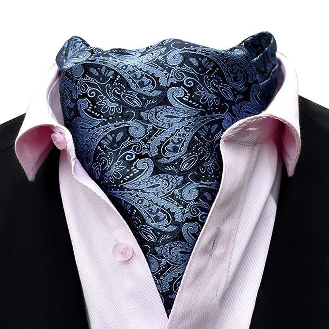 YCUEUST Elegante Hombre Vintage Cravat Negocio Boda Ascot Tejido Paisley Jacquard Corbatas Azul