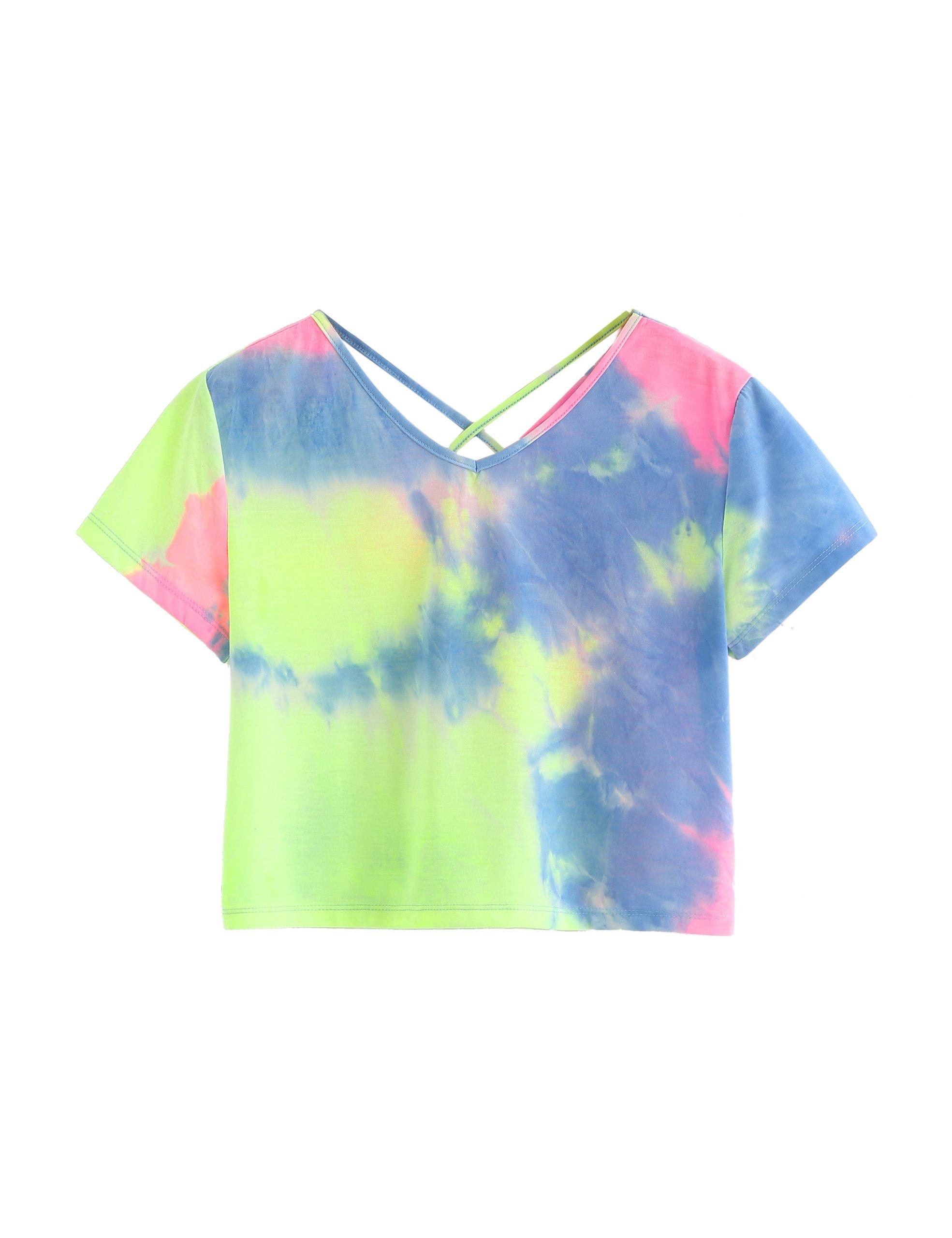 c912e2e43d180 SweatyRocks Women s Tie Dye Criss Cross Back Short Sleeve Crop Summer T  Shirt