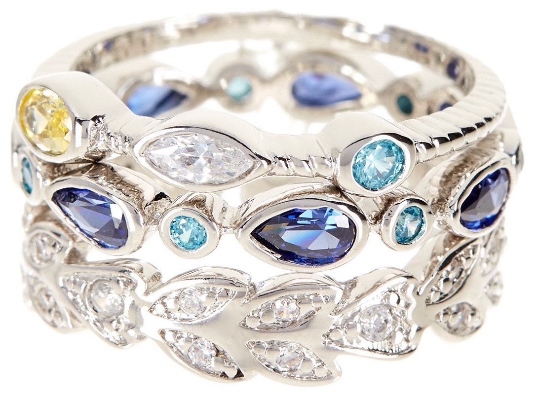 CZ Wholesale Gemstone Jewelry Stackable Ring Set (Size 7)