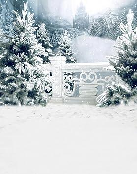 A Monamour Toiles De Fond Photo Scenique Hiver Blanc Neige Arbres Avec Givre Rimes Mur Noel Vacances Murale Fete Decorations Vinyle Tissu