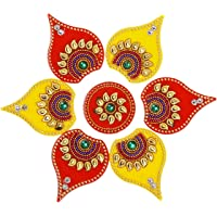 ARTISENIA Diwali Rangoli Indian 5 Pieces Yellow & Red Modak Rangoli Floor Table Decoration Studded Stones Sequins…
