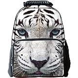 Skymoon Children's 3D Animal School Backpacks (16 Inch,White Tiger)