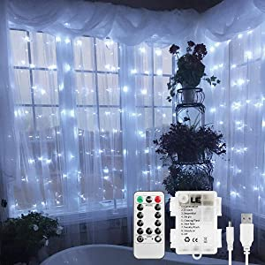 LE LED Curtain Light, USB or Battery Operated, Portable/Timer/Remote/Dimmable/8 Mode, Cool White, 9.8x9.8ft 300 LED, Indoor Outdoor Wall Window String Light for Bedroom, Party, Wedding, Patio and More