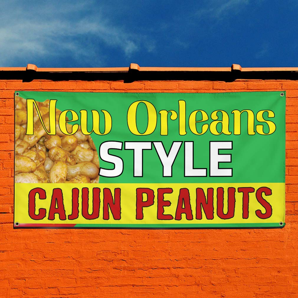Vinyl Banner Sign Boiled Peanuts #1 Style F Peanuts Outdoor Marketing Advertising Brown 28inx70in Set of 2 4 Grommets Multiple Sizes Available