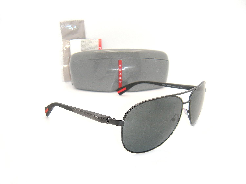 New Prada Sunglasses OPS 51OS 1BO1A1 62mm Black Demi Shiny Frame / Gray Lens