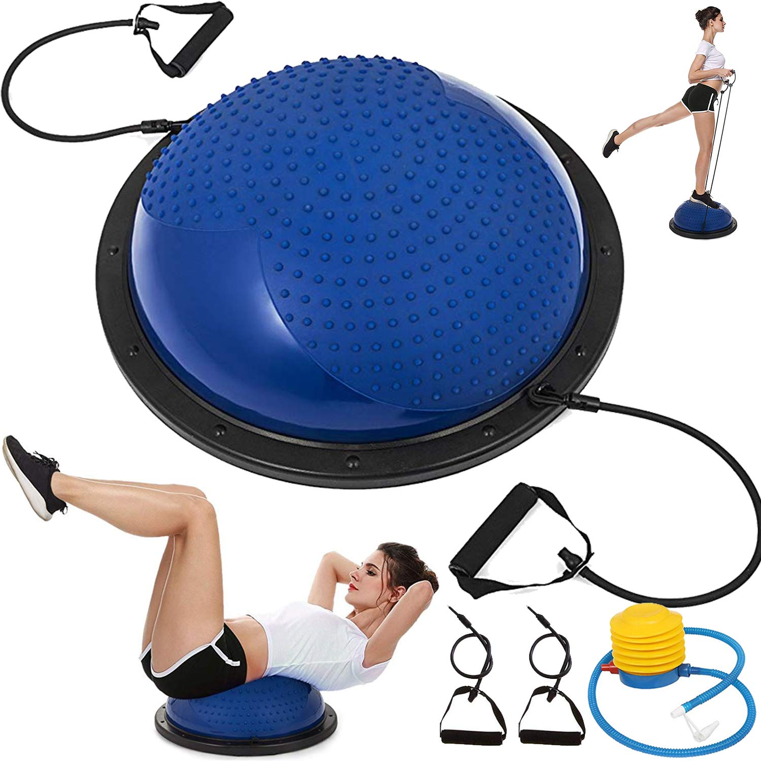 VEVOR Balance Trainer Ball 23 Inch Balance Trainer Blue Yoga Balance Ball Fitness Strength Exercise Workout with Resistance Bands and Pump (Blue Massage)
