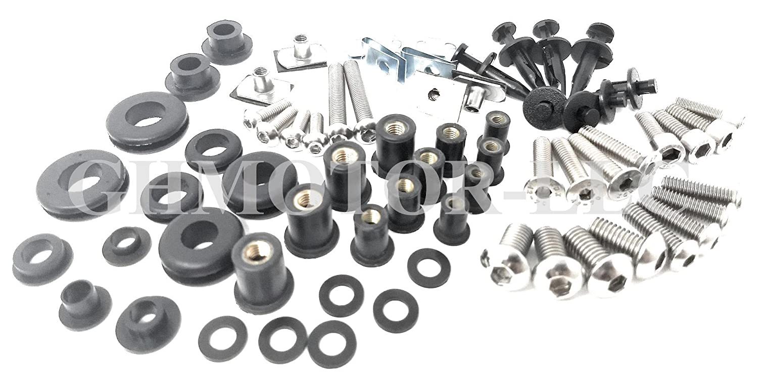 GHMotor Complete Fairings Bolts Screws Fasteners Kit Set Made in USA for 2009 2010 2011 2012 2013 2014 Yamaha R1 Silver GHMotor-5017-bk