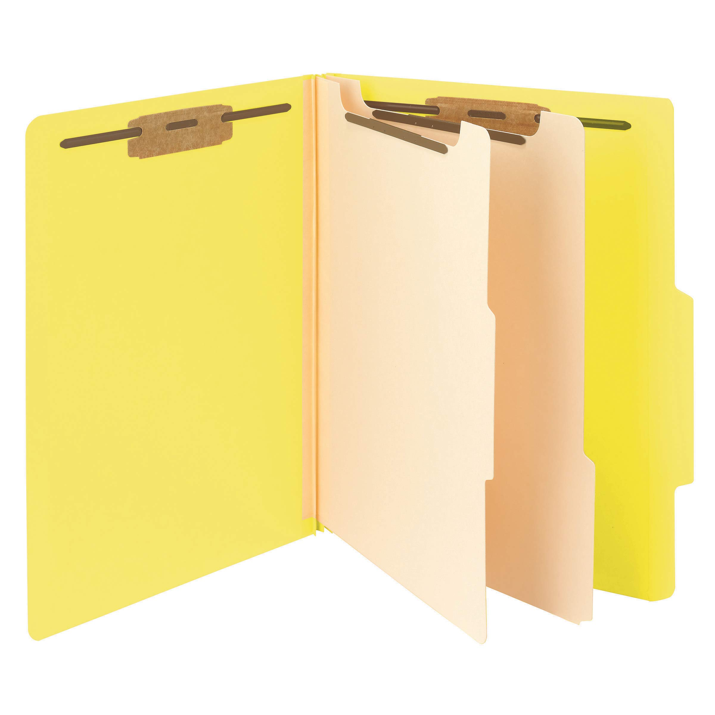 Smead Classification File Folder, 2 Dividers, 2'' Expansion, 2/5-Cut Tab, Letter Size, Yellow, 10 per Box (14004)