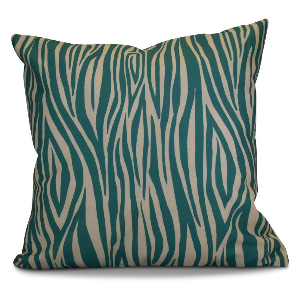 E by design O5PGN722GR31IV5-16 16 x 16 Wood Stripe Geometric Print Green Outdoor Pillow