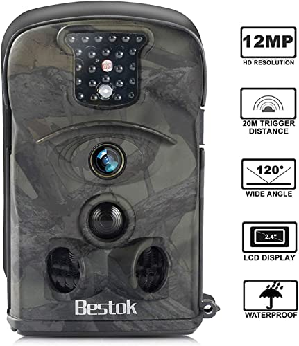 Bestok Hunting Trail Camera 120 12MP HD Infrared Night Vision 65ft 2.4 LCD Trail Camera IP54 Waterproof Deer Camera