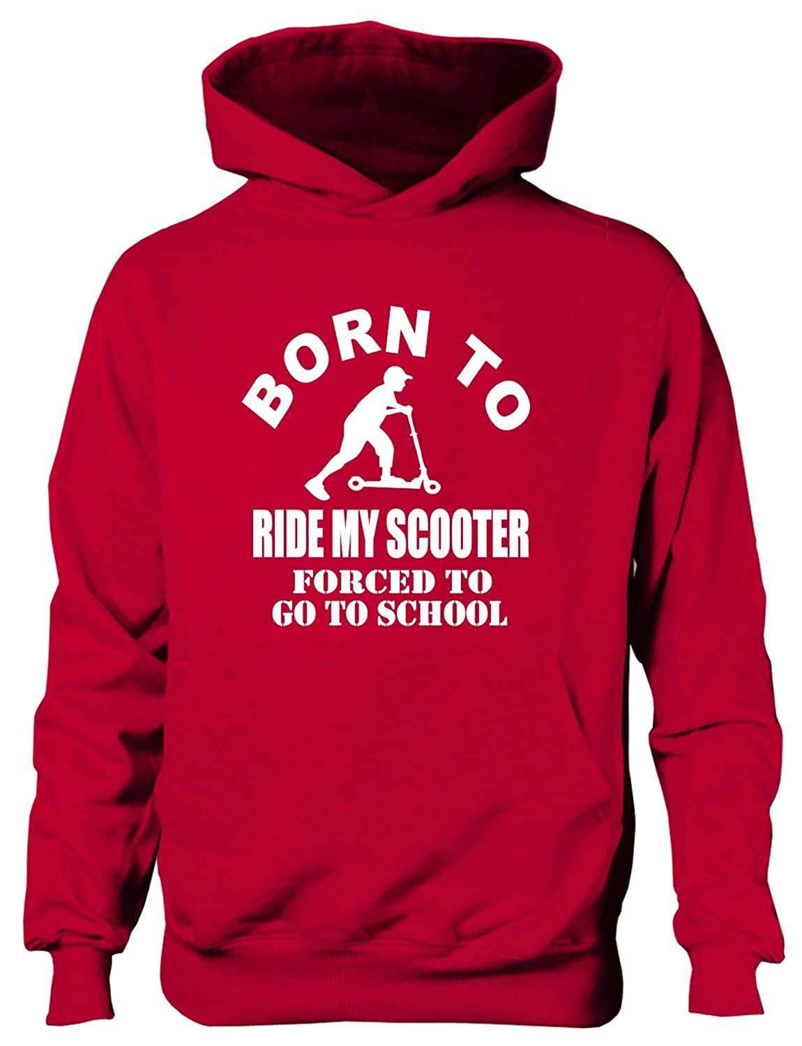 Born to Ride My Scooter Forced to Go to School Kids Hoodie Sizes 1-13 Years