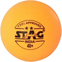 Stag Two Star Plastic Table Tennis Ball, 40mm Pack of 3 (Orange)