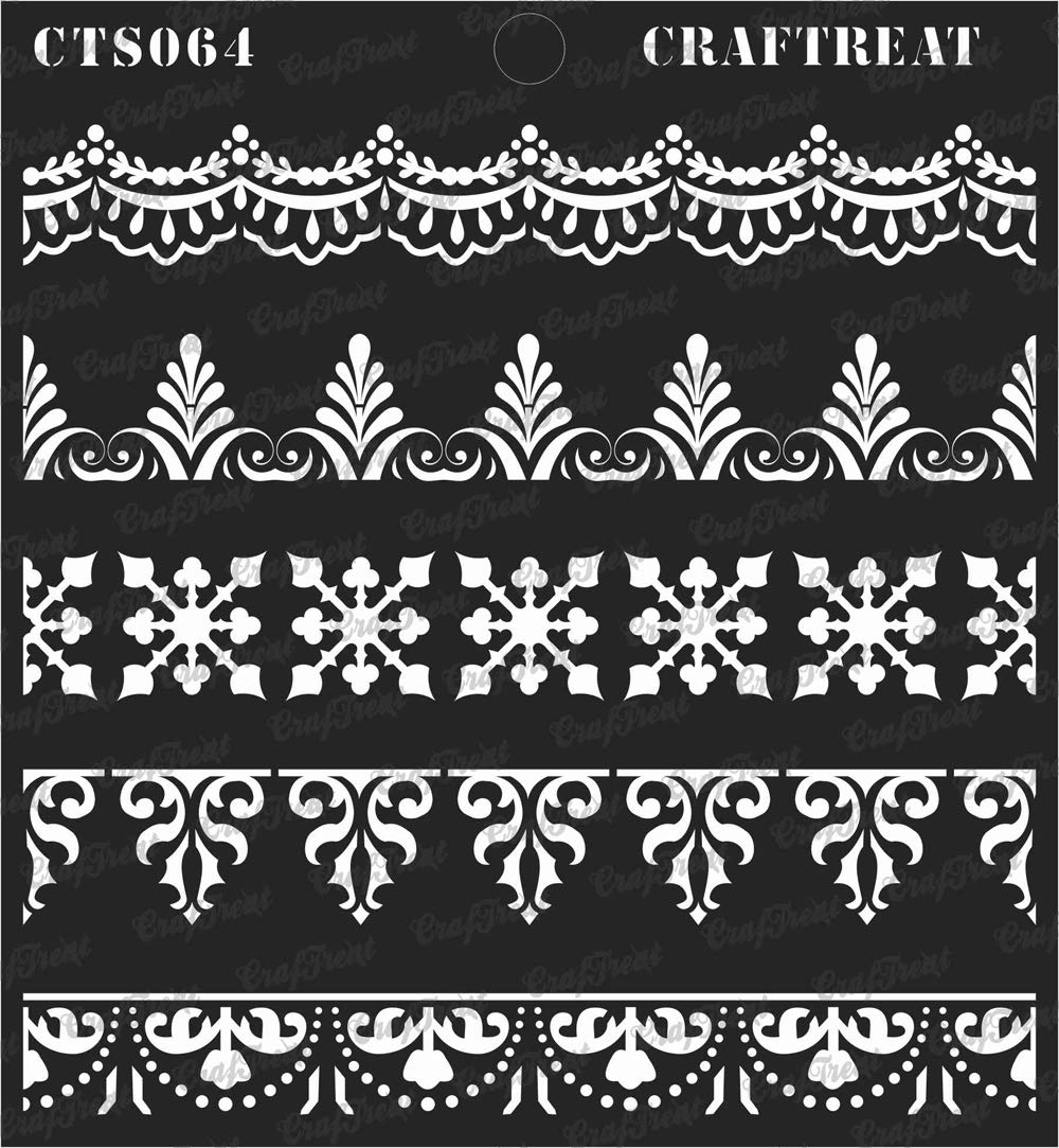 CrafTreat Stencil 2 pcs Wall Scrapbook and Printing on Paper DIY Albums Crafting Lace Border1 /& Lace Border2 | Reusable Painting Template for Home Decor Fabric Wood 3X12 Tile Floor