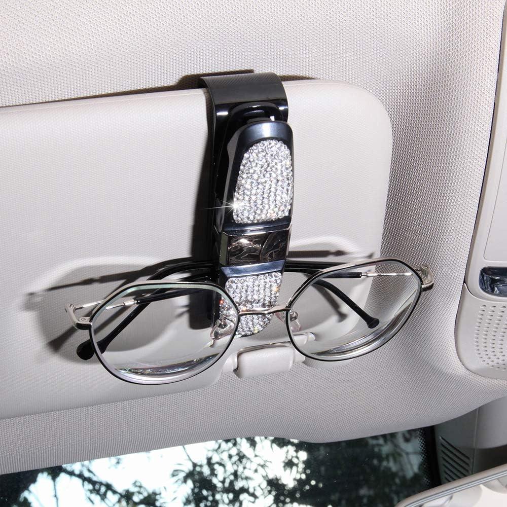 KKmoon Auto Sonnenbrille Clip Diamant Strass Brillenhalter Gl/änzende 180 Grad Rotation Bling Sonnenbrillenhalter f/ür Auto
