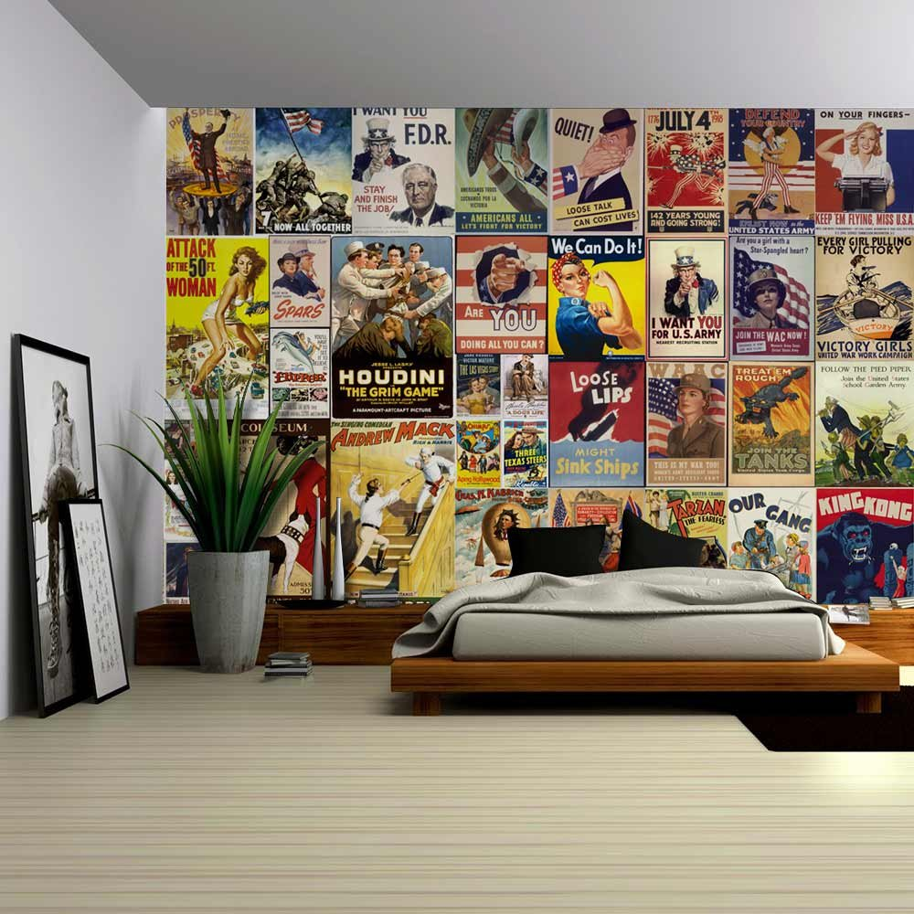 peel and stick wallpapaer american posters collage with vintage war propaganda and classic movie. Black Bedroom Furniture Sets. Home Design Ideas