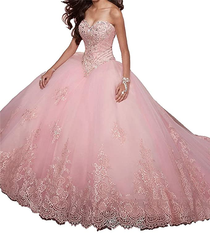 Junguan Womens Lace Appliques Sweet 15 Ball Gowns Crystal Quinceanera Dresses at Amazon Womens Clothing store: