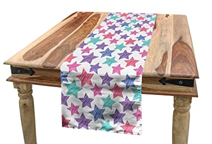 Amazon com: Lunarable Modern Table Runner, Stars Pattern