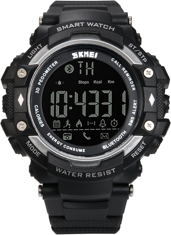 Lancardo Reloj Inteligente Smartwatch Monitor Saludable Podómetro Caloría Reloj Deportivo Impermeable de 50m Bluetooth Control Remoto para Android y iOS Smartphones para Hombre, Mujer