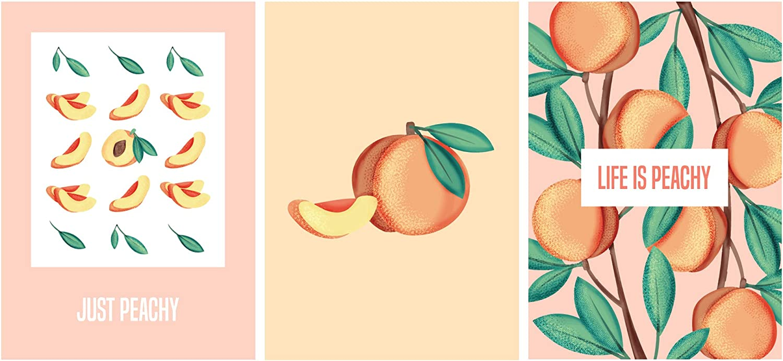 "SCENE: YOURSELF Peach Bathroom Decor, Peach Decor, Peach Wall Decor, Peach Room Decor, Coral Wall Decor, 11.7"" x 16.5"", Unframed, Paper, Matte Lamination, Set of 3 Peachy Posters, Coral"