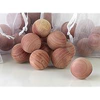 Cedar Scent Cedar Balls as Moth Repellent, Natural Aromatic Wooden Balls 50 pcs with 5 White Mesh Bags