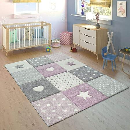 Tapis Enfant Chambre Enfant Carreaux Pois Coeurs Étoiles Pastel Violet  Gris, Dimension:120x170 cm