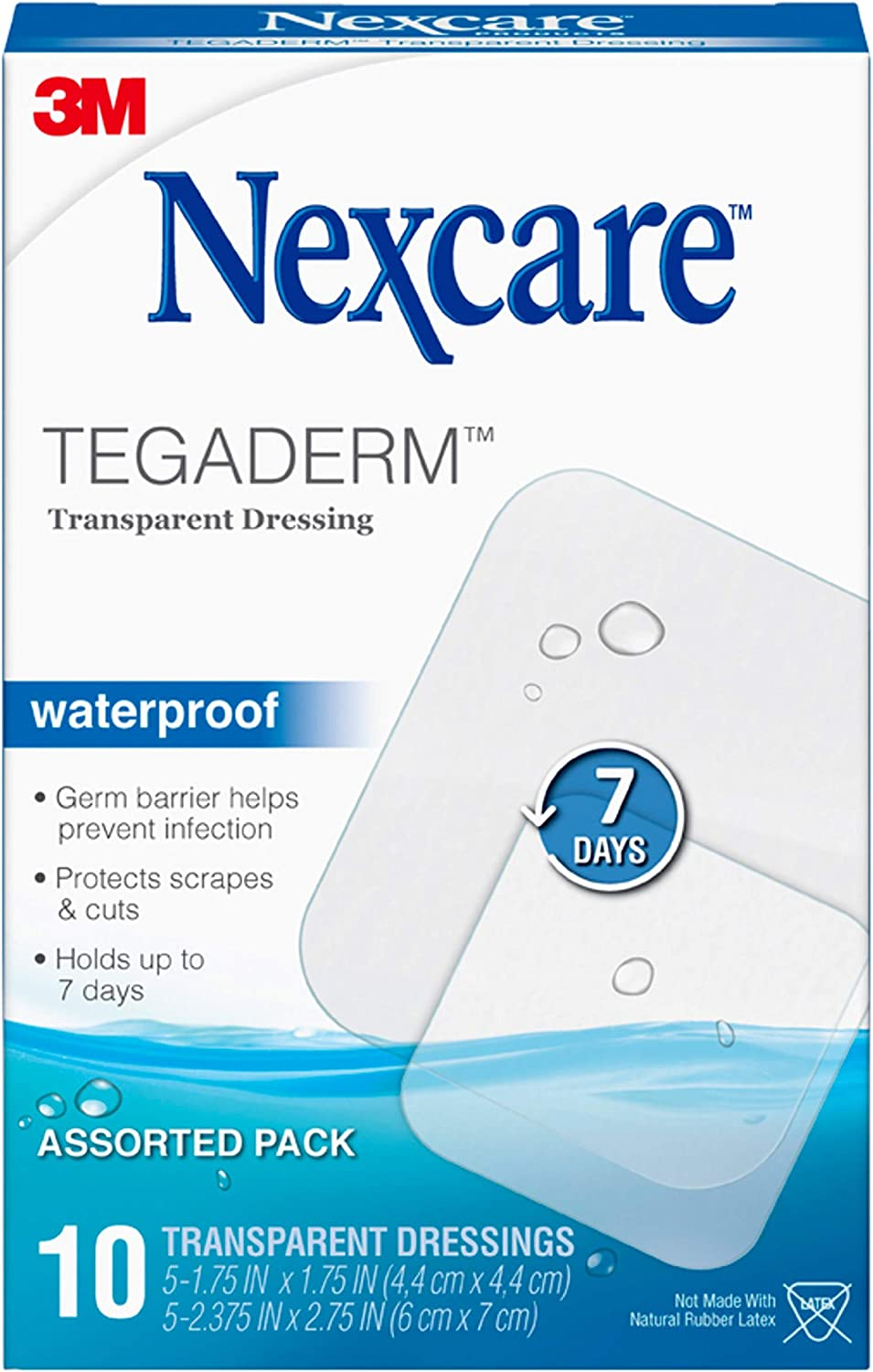 Nexcare Tegaderm Waterproof Transparent Dressing, Dirtproof, Germproof, 2-3/8 Inches X 2-3/4 Inches, 10 Count Packaging may vary.