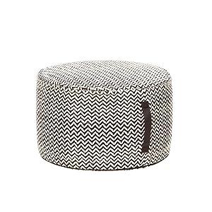 Hübsch Pouf Rond en Coton Motifs Noir Blanc -Diamètre 50cm