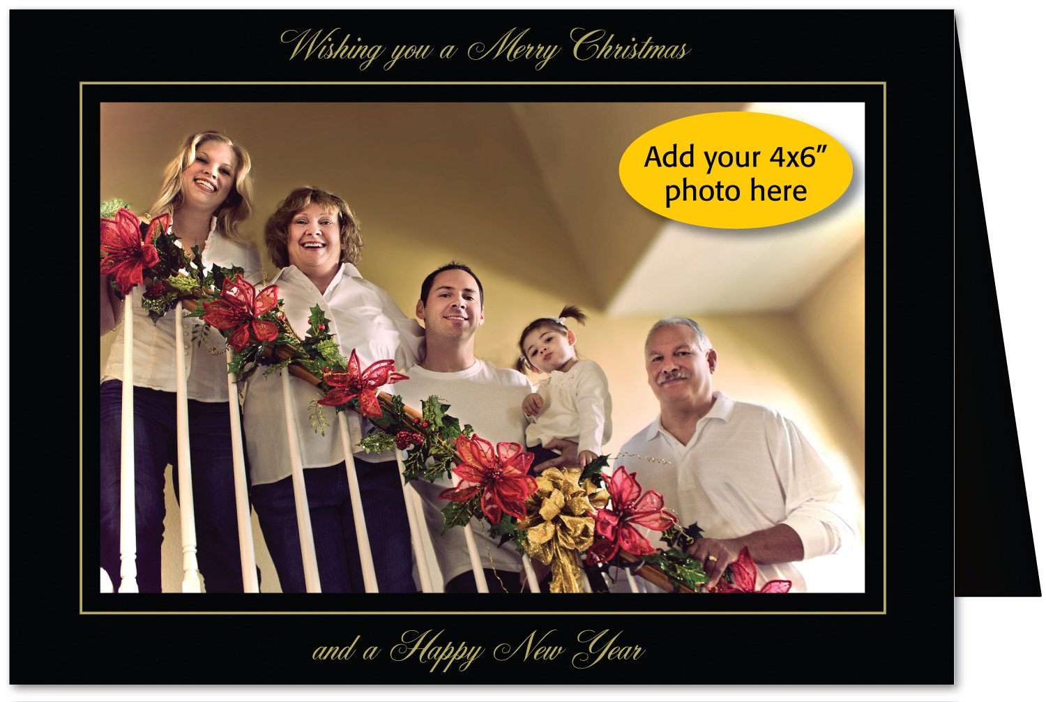Photographer's Edge, Photo Insert Card, Premium Black Linen, Wishing you a Merry Christmas and a Happy New Year, Set of 10 for 4x6 Photos